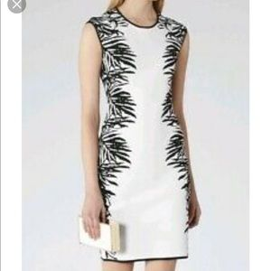 Reiss Perrin White Black bodycon dress size 0
